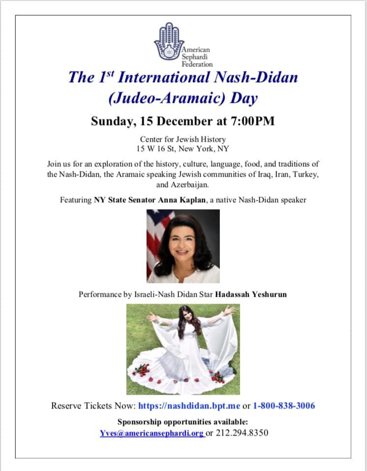 Event International Nash-Didan (Judeo-Aramaic) Day